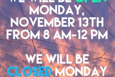 Hours: Week of November 13th